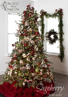 RAZ 2015 Sageberry Christmas Tree visit http://www.trendytree.com for RAZ Christmas decorations