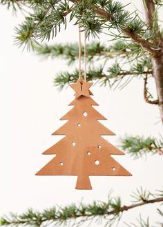 Christmas ornament - leather xmas tree nature