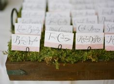 Calligraphy-Wedding-Escort-Cards  I created those 86 escort cards and I'm not gonna lie, I'm pretty proud of them. I love how they turned out and loved being able to use my own calligraphy for them! Trying to find excuses to do more things in calligraphy now. The escort cards and table numbers both had our Spanish tile pattern from our invitations on them.