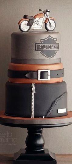 Ideas for motorcycle party men groom cake Torta Harley Davidson, Bolo Motocross, Beautiful Cakes, Amazing Cakes, Masculine Cake, Cake For Boyfriend, Motorcycle Cake, Motorcycle Leather, Birthday Decorations For Men