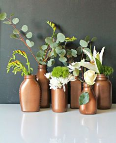 DIY: Painted Copper Vases; perfect for a Fall centerpiece