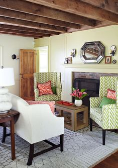 I was blown away by this cheerful cape cod home featured in this months Traditional Home magazine. It was designed by Maureen Footer and is owned by the Lovato family. LOVE that desk.  I love those chairs!  How amazing is that painted floor.  all images from Traditional Home Magazine  Related Related Posts Living Room Sneak …