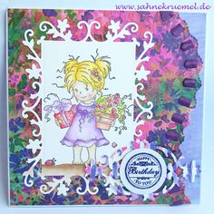 "Handmade greetingcard using ""Suzi"" Whimsy Stamps; Designerpaper ""Wild Flower"" First Edition; Wild Rose Studio: Dies ""Floral Frame"" and ""Oval Frame""; Sentiment ""Birthday Circles"" Wild Rose Studio; ""Ribbon Wave Die"" Marianne Design; Embossingpowder ""Earthtone Grape"" WOW; colored with Derwent Watercolour Pencils"