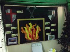 Knights and castles. Good idea for team colours to be around. They could create a shield for their colour/ house and the classes results could be displayed around the fire. International Day, Classroom Displays, Knights, Castles, School Stuff, Fire, Colours, Teaching, Create