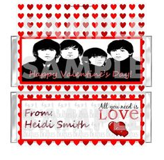 BEATLES VALENTINES DAY PARTY candy bar wrappers favor FREE FOILS Personalized #ValentinesDay #partyfavors