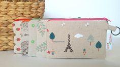 Zipper Pouch, Zakka Style Coin Purse Keyring Wallet Pink Eiffel Tower