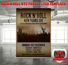 Designed principally for a New Years Eve Rock Music Event, but also suitable for any gig, concert, festival, night club special evening. Ideal for a indie pop event or a rock/pop band poster! This poster can also be used for an art exhibition or other advertising purposes, and you can even use it like a poster/flyer mockup.