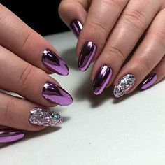 34 eye-catching chrome nail art designs for 2019 36 Chrome Nails Designs, Manicure Nail Designs, Purple Nail Designs, Nail Manicure, Nail Art Designs, Gel Nails, Purple Chrome Nails, Chrome Nail Art, Purple Nail Art