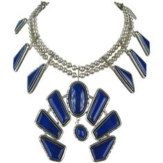 Preowned Massive Sterling Silve Native American Lapis Lazuli Squash... ($8,500) ❤ liked on Polyvore featuring jewelry, necklaces, purple, purple bead necklace, american indian jewelry, flower necklace, purple necklace and lapis lazuli bead necklace