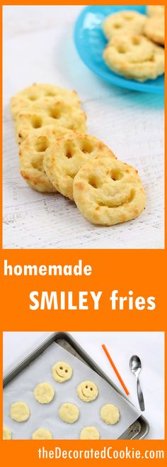 HOMEMADE SMILEY FRIES, a healthy kid's snack, baked not fried