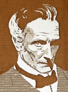 Giles Oldershaw's Amazing Cardboard Portraits
