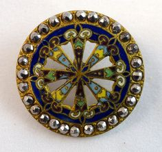 French Enamel Champleve  Button Late 19th C. Open work and steel cut rivet border.
