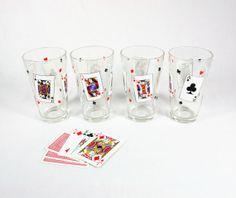 Vintage Playing Card Beer Glasses Tumblers by vintagefindsetcetera, $20.00
