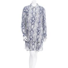 Pre-owned Rachel Zoe Silk Snakeskin Print Dress ($130) ❤ liked on Polyvore featuring dresses, blue, collar dress, blue dress, snakeskin print dress, blue button dress and silk dress