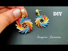 Pin wheel Earrings || St Petersburg stitch Beaded earrings - YouTube Diy Jewelry Necklace, Seed Bead Jewelry, Bead Jewellery, Seed Bead Earrings, Beaded Bracelets, Pearl Necklace, Beaded Crafts, Jewelry Crafts, Bijoux Fil Aluminium