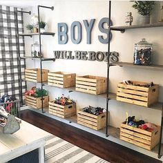 If I had boys, this space from would serve as major room inspo! From the buffalo check wallpaper to the metal & wood… If I had boys, this space from M+B Design would serve as major room inspo! From the buffalo check wallpaper to the metal & wood… Black Pipe Shelving, Toy Rooms, Playroom Design, Kid Playroom, Playroom Decor, Playroom Organization, Kids Bedroom Boys, Boys Shared Bedroom Ideas, Little Boy Bedroom Ideas
