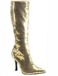 07ae6caffba Boots  Adult Ladies Gold Sequined Boots Circus Fancy Dress Costume
