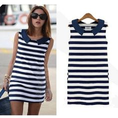Feitong 2015 New Women Casual Clothing Denim Peter Pan Collar Sleeveless Slim Striped Dress Vest ...Discover and shop the latest things you love on www.zkkoo.com