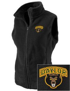 Warm!! // #Baylor embroidered women's fleece vest