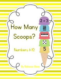 A simple math center to help students understand that there is more than one way to represent a number.  Each ice cream cone has a number which can be represented by a ten frame, dice dots, tallies, and an addition sentence.  Students will have fun counting and matching the numbers while building ice cream cones.