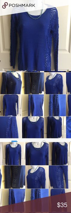 Brand-new blue lace sweater size medium woman's Brand-new without tag. blue lace sweater size medium woman's ladies.  Check out my closet, we have a variety of Victoria Secret, Bath and Body Works, handbags, Aerosoles, shoes, fashion jewelry, women's clothing, Beauty products, home decors & more...  Ships via USPS. Don't forget to bundle, you save big! Always a FREE GIFT with every purchase!!! Thank you & Happy Poshing!!! Tops Blouses