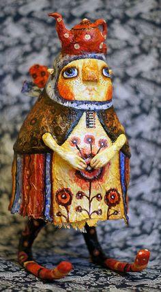 Макаша -жихарка кукла по уникальной авторской технологии, сделана из папье - маше на проволочном каркасе и расписанная акварельными красками, покрыта лаком.