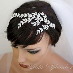 Bridal Headband Silver Rhinestone Leaves Crystal by LuluSplendor, $165.00