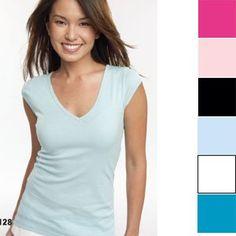 Bella Sheer Rib Cap Sleeve Deep V-Neck T-Shirt $17.35 - $25.00