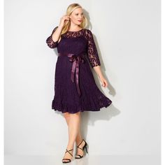 Avenue Plus Size Lace Seamed Flounce Dress (1,965 INR) ❤ liked on Polyvore featuring dresses, plum, plus size, cocktail dresses, lace slip dresses, evening dresses, plus size evening dresses and plus size dresses