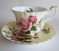 Royal Albert Bone China Tea Cup Saucer English Beauty Pink Roses Vintage