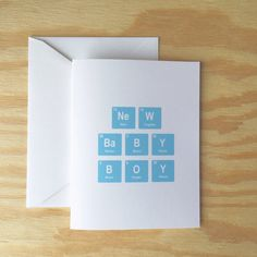 New Baby Boy greeting card periodic table by Wanderlust25PaperCo
