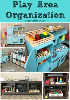 Tips for organizing toddler toys and playroom storage. Play area organization for small spaces. How to organize toys in small spaces.