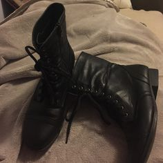 Like New Black Combat Boots Worn once, like new. Comfortable and cute, can go with just about anything! Shoes Lace Up Boots