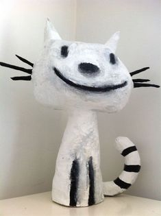 chat en papier maché suite