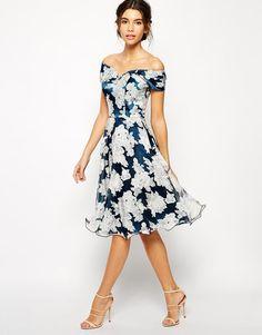 Chi Chi London | Chi Chi London Printed Organza Midi Prom Dress with Bardot Neck…