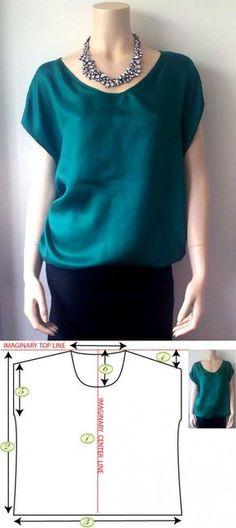 Простая блузка.Выкройка.. | шитье | Постила