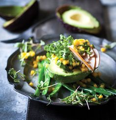 Smoked chicken and avo with mango-and coriander dressing. The mango and coriander gives the salad a refreshing finish.