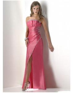 Fascinating A-Line/Princess Strapless Floor-Length Taffeta Evening Dresses With Ruffle Beading (017004317)