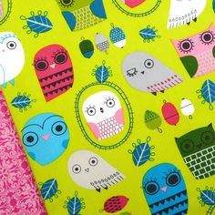 Robert Kaufman Critter Community Acorn Owl Fabric Quilt Blind Clothing Bird | eBay