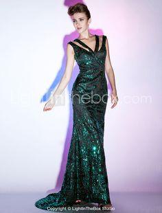 Sequined Sheath/ Column V-neck Floor-length Evening Dress inspired by Scarlett Johansson - USD $ 199.99