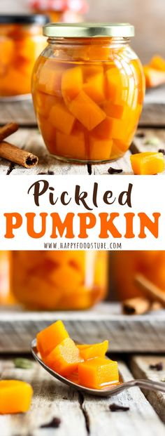 Pickled pumpkin is the perfect side dish for turkey dinner or any meat-based meals! It's sweet with a hint of sourness and tastes of cardamom, cinnamon and cloves. Learn how to make pickled pumpkin and preserve pumpkin. Easy canning recipe. #pickled #pumpkin #canning