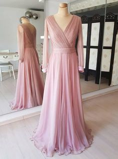 Prom Dress Beautiful, Pretty Flowy Long Elegant Simple Cheap Chiffon Prom Dresses With Sleeves, Discover your dream prom dress. Our collection features affordable prom dresses, chiffon prom gowns, sexy formal gowns and more. Find your 2020 prom dress Modest Formal Dresses, Classy Prom Dresses, Simple Prom Dress, Pink Prom Dresses, A Line Prom Dresses, Simple Dresses, Dress Prom, Wrap Dresses, Party Dress