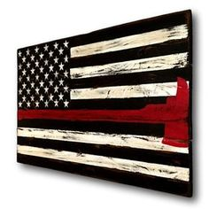 Hand painted on reclaimed wood. The pictured sign is approximately 30x19 in size. This flag is a variation of our Thin Red Line Flag, with the firefighter axe integrated into the red line. The meaning of the thin red line is that as firefighters are put in peril, they place their lives second to those they protect. They are forced to face their own fears and grasp for every ounce of courage to perform the necessary task. This makes a perfect gift for any firefighter