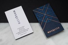 New brand identity and block foiled business cards for dessert bar Mosquito designed by Glasfurd & Walker.