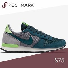 Nike Internationalist shoes Nike Internationalist shoes.  Colors are dark real, gray, lime green.  Brand new with shoebox (w/ no lid).  No trades.  Price is firm. Nike Shoes Sneakers