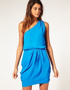 Drape Dress with One Shoulder