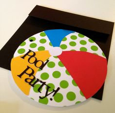 Set of 12 - Beach Ball Summer Pool Party Birthday Invitations