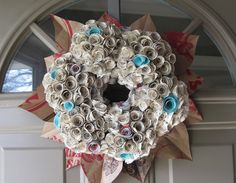 Vintage Paper Flower Book Wreath by MyColorfulLife on Etsy, $28.00