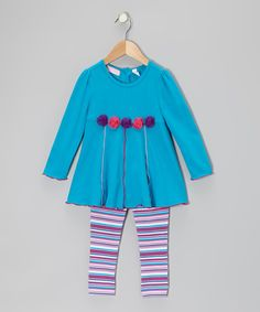 Take a look at this Kids Headquarters Blue Rosette Tunic & Leggings - Infant, Toddler & Girls on zulily today!