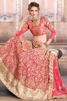 Brink Pink Net and #Satin Embroidered #WeddingLehenga Choli. Sku Code: 25-6436LL862037 US $176.00 http://www.sareez.com/brink-pink-net-and-satin-embroidered-wedding-lehenga-choli.html